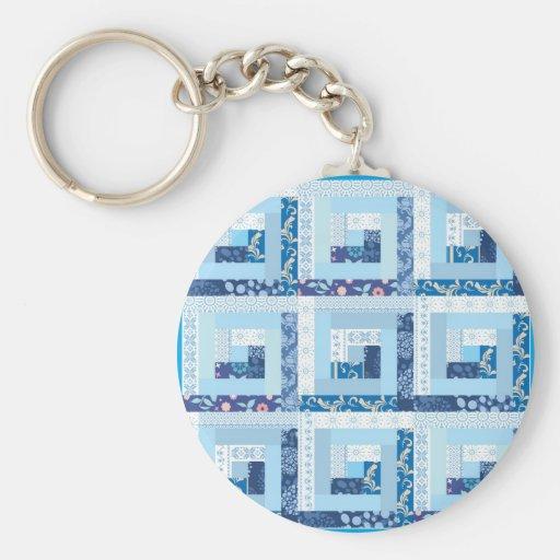Blue Quilt Key Chain