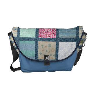 Blue Quilt Messenger Bag