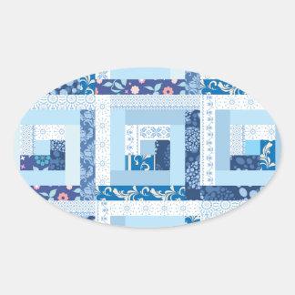 Blue Quilt Oval Sticker