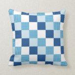 Blue Quilt Pattern Throw Pillow