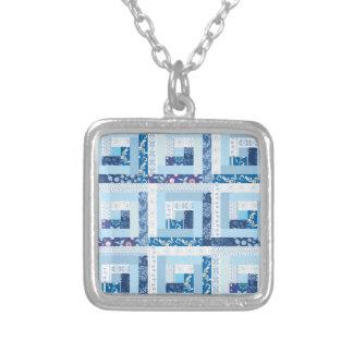 Blue Quilt Square Pendant Necklace