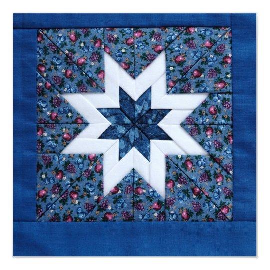blue quilt star invitation