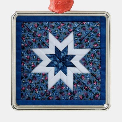 blue quilt star premium ornament