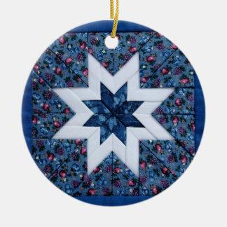 blue quilt star round ornament