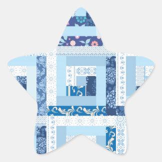 Blue Quilt Star Sticker