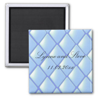 Blue Quilted Diamond Save the Date Magnet