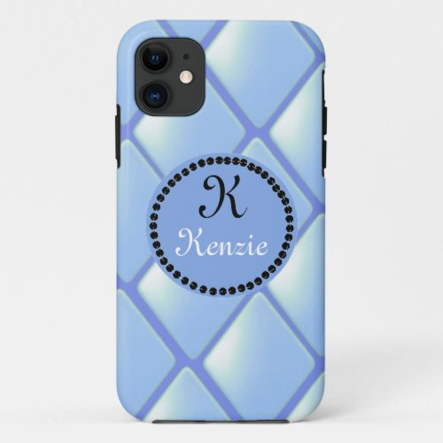 Blue Quilted Diamond With Monogram Phone Case