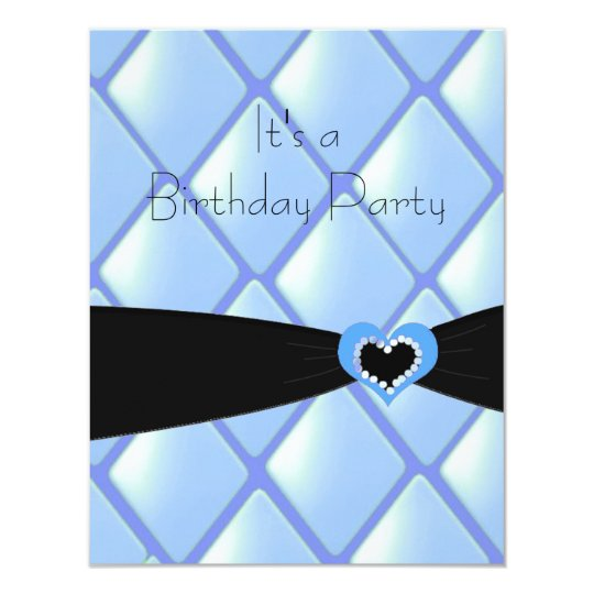 Blue Quilted Diamonds Birthday Invitation