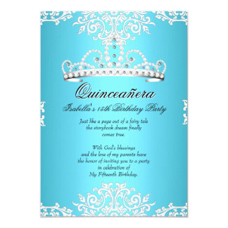 Blue Quinceanera 15th Birthday Party Tiara 3 Card