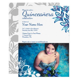 Blue Quinceañera Photo Invitation