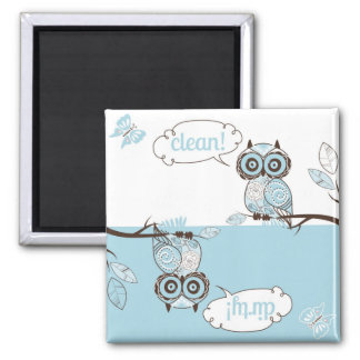 Blue Quirky Owl Clean Dirty Dishwasher Magnet