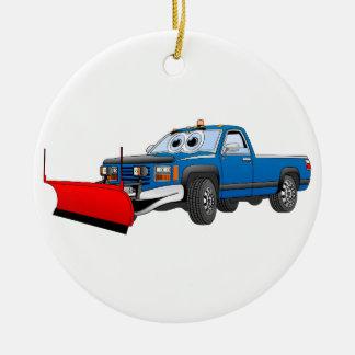 Blue R Pick Up Snow Plow Cartoon Ceramic Ornament