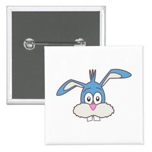 Blue Rabbit head Pinback Buttons