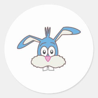 Blue Rabbit head Classic Round Sticker