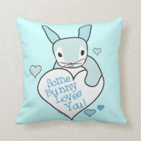 Blue Rabbit Heart Some Bunny Loves You Throw Pillow