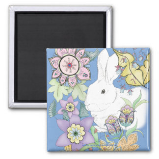 Blue Rabbit Magnet (square)
