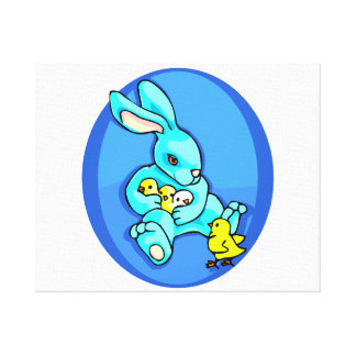 blue rabbit three chicks holding one chick out.png canvas print
