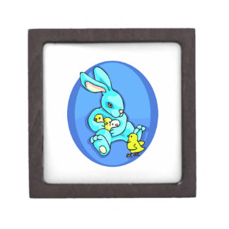 blue rabbit three chicks holding one chick out.png keepsake box
