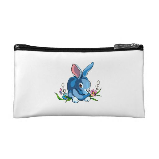 blue rabbit with flowers sitting.png cosmetics bags