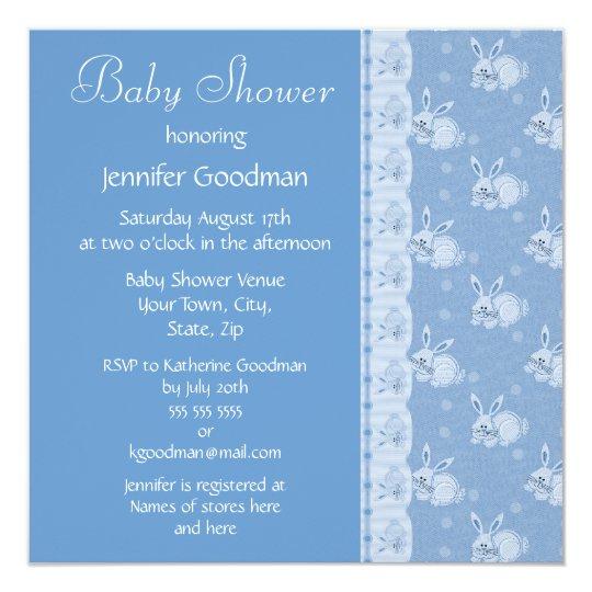 Blue Rabbits Baby Boy Shower Invites