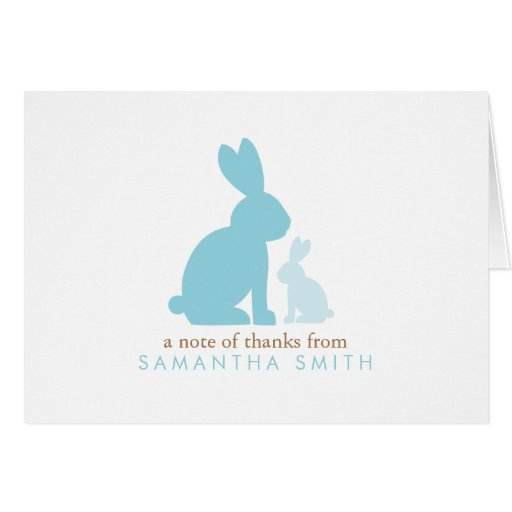 Blue Rabbits Baby Shower Thank You Notes