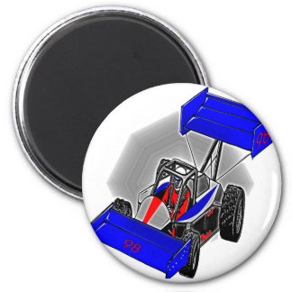 BLUE RACE CAR 2 INCH ROUND MAGNET