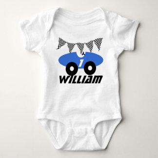 Blue Race Car Baby Bodysuit