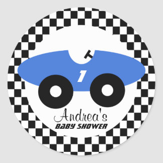 Blue Race Car Baby Shower Classic Round Sticker