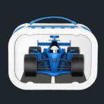 """Blue Race Car Lunch Box<br><div class=""""desc"""">Fun lunchbox design features blue race car.  Created with graphics by&#169;http://www.delightful-doodles.com</div>"""