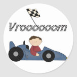 Blue Race Car Tshirts and Gifts Round Sticker