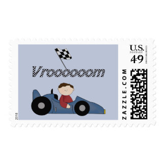 Blue Race Car Tshirts and Gifts Stamp
