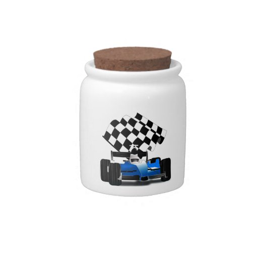 Blue Race Car with Checkered Flag Candy Dish