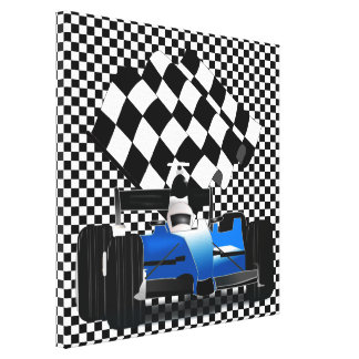 Blue Race Car with Checkered Flag Canvas Print