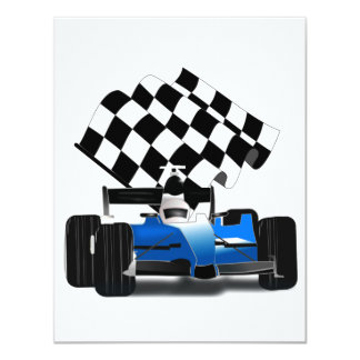 Blue Race Car with Checkered Flag Card