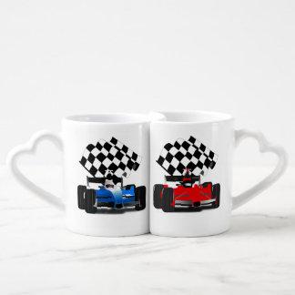 Blue Race Car with Checkered Flag Coffee Mug Set