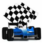 Blue Race Car with Checkered Flag Cutout