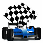 Blue Race Car with Checkered Flag Cutout