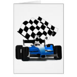 Blue Race Car with Checkered Flag Greeting Card