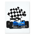 Blue Race Car with Checkered Flag Personalized Invitation