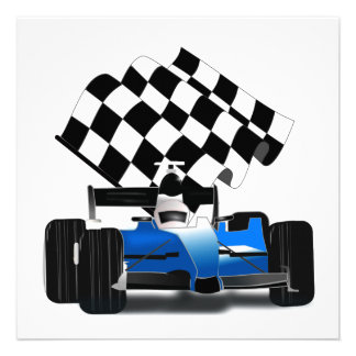 Blue Race Car with Checkered Flag Personalized Announcements