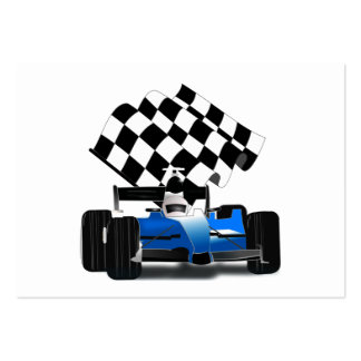 Blue Race Car with Checkered Flag Large Business Card