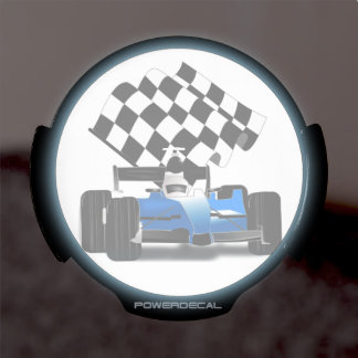 Blue Race Car with Checkered Flag LED Window Decal