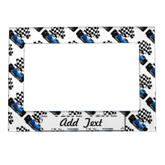 Blue Race Car with Checkered Flag Magnetic Frame