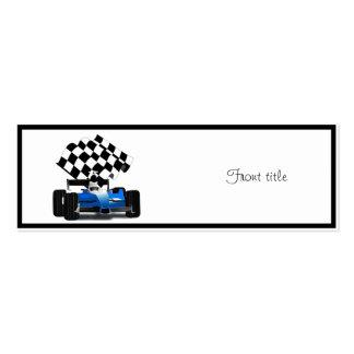 Blue Race Car with Checkered Flag Mini Business Card