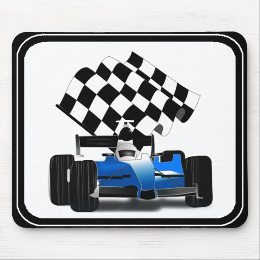 Blue Race Car with Checkered Flag Mousepads