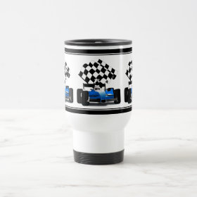 Blue Race Car with Checkered Flag 15 Oz Stainless Steel Travel Mug
