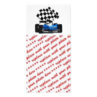 Blue Race Car with Checkered Flag Customized Photo Card