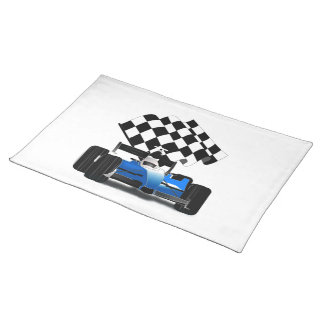 Blue Race Car with Checkered Flag Placemat