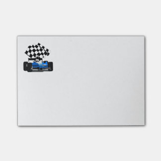 Blue Race Car with Checkered Flag Post-it Notes