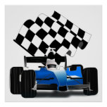 Blue Race Car with Checkered Flag Poster